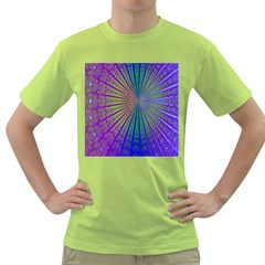 Blue Fractal That Looks Like A Starburst Green T Shirt