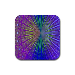 Blue Fractal That Looks Like A Starburst Rubber Coaster (square)