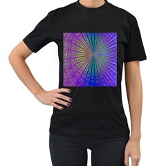 Blue Fractal That Looks Like A Starburst Women s T Shirt (black) (two Sided)