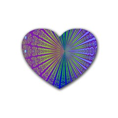 Blue Fractal That Looks Like A Starburst Heart Coaster (4 pack)