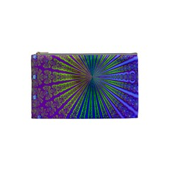 Blue Fractal That Looks Like A Starburst Cosmetic Bag (small)