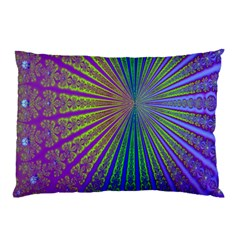 Blue Fractal That Looks Like A Starburst Pillow Case (two Sides)