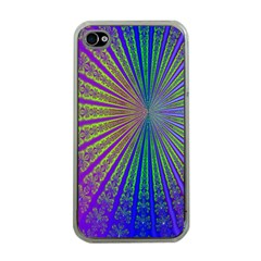 Blue Fractal That Looks Like A Starburst Apple iPhone 4 Case (Clear)