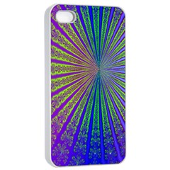 Blue Fractal That Looks Like A Starburst Apple iPhone 4/4s Seamless Case (White)
