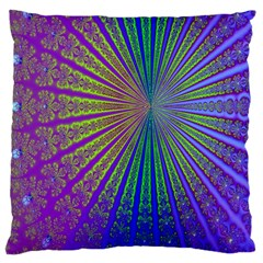 Blue Fractal That Looks Like A Starburst Large Cushion Case (Two Sides)