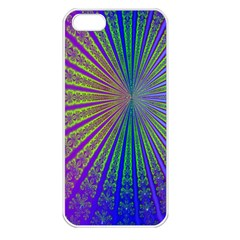 Blue Fractal That Looks Like A Starburst Apple iPhone 5 Seamless Case (White)