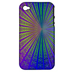 Blue Fractal That Looks Like A Starburst Apple Iphone 4/4s Hardshell Case (pc+silicone)