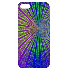 Blue Fractal That Looks Like A Starburst Apple iPhone 5 Hardshell Case with Stand