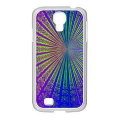 Blue Fractal That Looks Like A Starburst Samsung Galaxy S4 I9500/ I9505 Case (white)