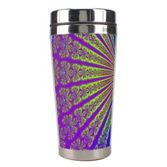Blue Fractal That Looks Like A Starburst Stainless Steel Travel Tumblers