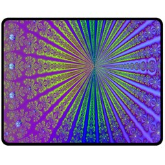 Blue Fractal That Looks Like A Starburst Double Sided Fleece Blanket (Medium)