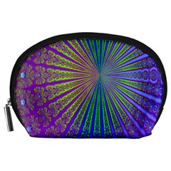 Blue Fractal That Looks Like A Starburst Accessory Pouches (Large)