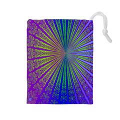 Blue Fractal That Looks Like A Starburst Drawstring Pouches (Large)