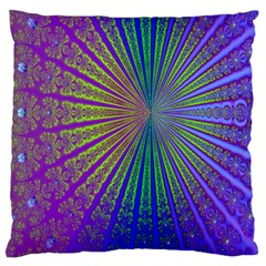 Blue Fractal That Looks Like A Starburst Large Flano Cushion Case (Two Sides)