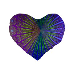 Blue Fractal That Looks Like A Starburst Standard 16  Premium Flano Heart Shape Cushions