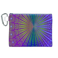 Blue Fractal That Looks Like A Starburst Canvas Cosmetic Bag (XL)