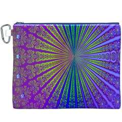 Blue Fractal That Looks Like A Starburst Canvas Cosmetic Bag (XXXL)