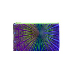 Blue Fractal That Looks Like A Starburst Cosmetic Bag (XS)