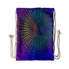 Blue Fractal That Looks Like A Starburst Drawstring Bag (small)