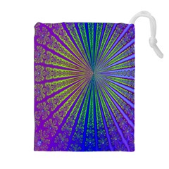 Blue Fractal That Looks Like A Starburst Drawstring Pouches (extra Large)