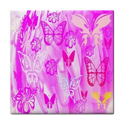 Butterfly Cut Out Pattern Colorful Colors Tile Coasters