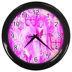 Butterfly Cut Out Pattern Colorful Colors Wall Clocks (Black)
