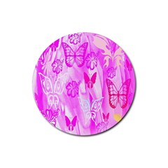 Butterfly Cut Out Pattern Colorful Colors Rubber Coaster (Round)