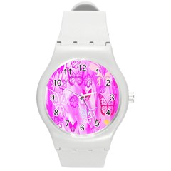 Butterfly Cut Out Pattern Colorful Colors Round Plastic Sport Watch (M)