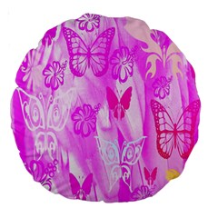 Butterfly Cut Out Pattern Colorful Colors Large 18  Premium Round Cushions