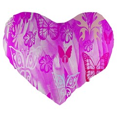 Butterfly Cut Out Pattern Colorful Colors Large 19  Premium Heart Shape Cushions
