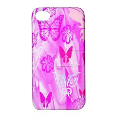 Butterfly Cut Out Pattern Colorful Colors Apple iPhone 4/4S Hardshell Case with Stand
