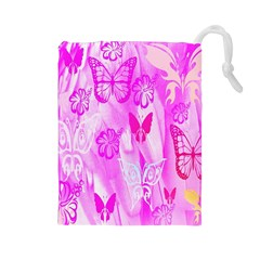 Butterfly Cut Out Pattern Colorful Colors Drawstring Pouches (Large)