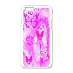 Butterfly Cut Out Pattern Colorful Colors Apple iPhone 6/6S White Enamel Case