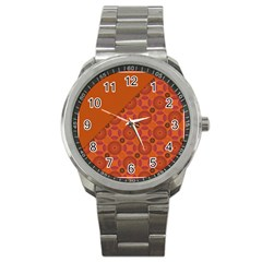 Vintage Paper Kraft Pattern Sport Metal Watch