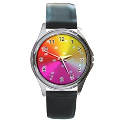 Polka Dots Pattern Colorful Colors Round Metal Watch