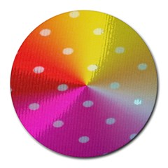 Polka Dots Pattern Colorful Colors Round Mousepads