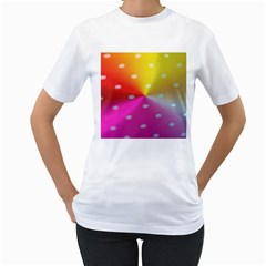 Polka Dots Pattern Colorful Colors Women s T Shirt (white) (two Sided)