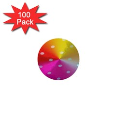 Polka Dots Pattern Colorful Colors 1  Mini Buttons (100 Pack)