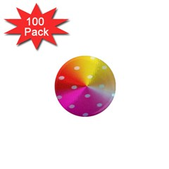 Polka Dots Pattern Colorful Colors 1  Mini Magnets (100 Pack)