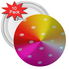 Polka Dots Pattern Colorful Colors 3  Buttons (10 Pack)