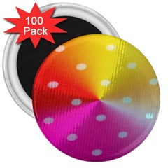 Polka Dots Pattern Colorful Colors 3  Magnets (100 pack)