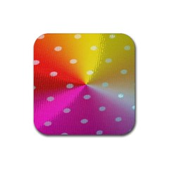 Polka Dots Pattern Colorful Colors Rubber Square Coaster (4 pack)