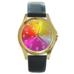 Polka Dots Pattern Colorful Colors Round Gold Metal Watch