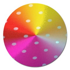 Polka Dots Pattern Colorful Colors Magnet 5  (round)