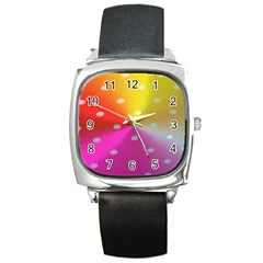 Polka Dots Pattern Colorful Colors Square Metal Watch