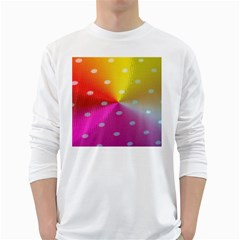 Polka Dots Pattern Colorful Colors White Long Sleeve T-Shirts