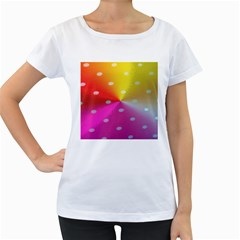 Polka Dots Pattern Colorful Colors Women s Loose-Fit T-Shirt (White)