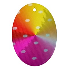 Polka Dots Pattern Colorful Colors Oval Ornament (Two Sides)
