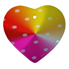 Polka Dots Pattern Colorful Colors Heart Ornament (Two Sides)