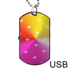 Polka Dots Pattern Colorful Colors Dog Tag Usb Flash (one Side)